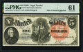 Large Size:Legal Tender Notes, Fr. 76 $5 1880 Legal Tender PMG Uncirculated 61.. ...