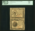 Continental Currency September 26, 1778 $8-$7 Uncut Vertical Pair PCGS About New 53