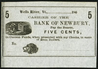 Wells River, VT- Unknown Issuer at the Bank of Newbury 5¢ 186_ Remainder Crisp Uncirculated