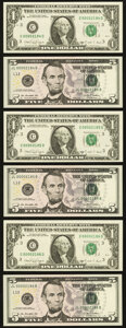 Small Size:Federal Reserve Notes, Matching Four-Digit FRN Serial Numbers 2184, 2185, and 2186 Pairs.. Fr. 1915-C $1 1988A (3) Choice CU;. Fr. 1996-L $5 ... (Total: 6 notes)