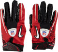 Football Collectibles:Others, 2010 Rob Gronkowski Game Worn & Signed New England Patriots Gloves (Red/Black) from his Rookie Season!...