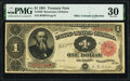 Large Size:Treasury Notes, Fr. 350 $1 1891 Treasury Note PMG Very Fine 30.. ...