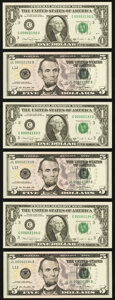 Small Size:Federal Reserve Notes, Matching Four-Digit Serial Numbers 2192, 2193, and 2194 Fr. 1915-C $1 1988A and Fr. 1996-L $5 2009 Federal Reserve Notes. Choi... (Total: 6 notes)