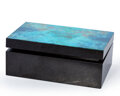 Lapidary Art:Boxes, Chrysoprase with Chrysocolla Box. Stone Source: Australia. Artist: Konstantin Libman. 4.33 x 2.76 x 1.57 inches (1...