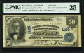National Bank Notes:New York, New York, NY - $50 1902 Plain Back Fr. 675 Bowery & East River National Bank Ch. # 1105 PMG Very Fine 25.. ...