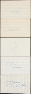 Autographs:Index Cards, Basketball Hall of Famers Signed Index Cards, Lot of 5.... (Total: 5 items)