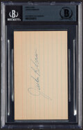 Autographs:Index Cards, Jackie Robinson Signed Index Card, Beckett Authentication Services. ...