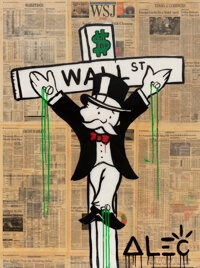 Alec Monopoly (b. 1986) Wall Street Crucifix, early 21st century Acrylic, spray paint, and collage o