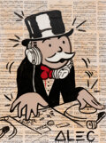 Paintings, Alec Monopoly (b. 1986). DJ Monopoly, early 21st century. Acrylic, spray paint, and collage on canvas with resin. 48 x 3...