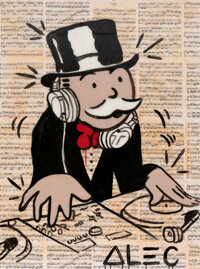 Alec Monopoly (b. 1986) DJ Monopoly, early 21st century Acrylic, spray paint, and collage on canvas