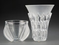 Glass, Two Lalique Clear and Frosted Glass Vases, post-1945. Marks: Lalique, France. 7 x 6 inches (17.8 x 15....