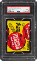 Baseball Cards:Unopened Packs/Display Boxes, 1963 Topps Baseball 1-Cent Unopened Wax Pack PSA Mint 9. ...