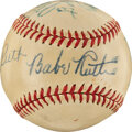 """Baseball Collectibles:Balls, 1947 Babe Ruth & Others Multi-Signed Baseball Commemorating """"The Babe Ruth Story"""" Movie Contract...."""