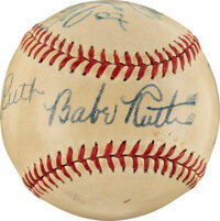 """1947 Babe Ruth & Others Multi-Signed Baseball Commemorating """"The Babe Ruth Story"""" Movie Contract"""