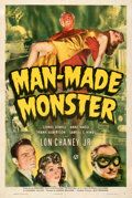 """Movie Posters:Horror, Man-Made Monster (Universal, 1941). Fine+ on Linen. One Sheet (27.5"""" X 41"""").. ..."""