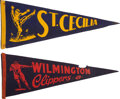 Football Collectibles:Others, Circa 1940 Wilmington Clippers & St. Cecilia Saints Pennants.... (Total: 2 items)