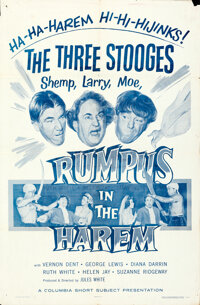 """The Three Stooges in Rumpus in the Harem (Columbia, 1956). Folded, Fine/Very Fine. One Sheet (27"""" X 41""""). Come..."""