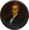 Political:3D & Other Display (pre-1896), Andrew Jackson: Rare Campaign Snuff Box.. First Example We Have Offered....