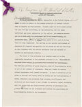 Autographs:U.S. Presidents, Franklin D. Roosevelt: Annotated and Signed Speech As President Regarding the FDA....