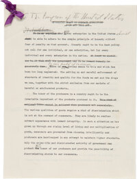 Franklin D. Roosevelt: Annotated and Signed Speech As President Regarding the FDA