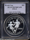 Modern Issues: , 1994-S $1 World Cup Silver Dollar PR70 Deep Cameo PCGS. ...