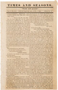 Miscellaneous:Newspaper, Times and Seasons (Nauvoo, IL) dated June 1, 1844 Mormon Newspaper. ...