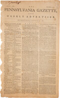 Miscellaneous:Newspaper, The Pennsylvania Gazette and Weekly Advertiser (Philadelphia) August 22, 1781 General's Cornwallis and Lafayette....