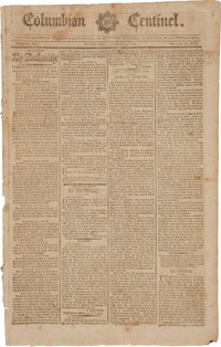 Columbian Centinel (Boston, Ma.) March 14, 1792: Ratification of the Bill of Rights