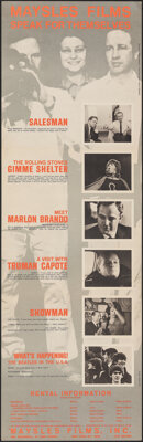 "Maysles Films: Speak for Themselves (Cinema 5, 1970). Folded, Very Fine+. Fold-out Brochure (10.5"" X 32.5"" Wil..."