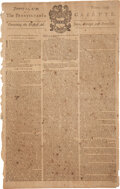 Miscellaneous:Newspaper, The Pennsylvania Gazette January 22, 1754 Published by Benjamin Franklin....