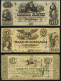 Obsoletes By State:Louisiana, New Orleans, LA- Canal Bank $50 18__ Remainder Crisp Uncirculated;. New Orleans, LA- Bank of Louisiana $5 June 14, 1... (Total: 3 notes)