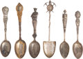 Western Expansion:Indian Artifacts, Sterling Spoons: Native American, Political, Mining and Patriotic Themes. ...