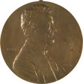 Political:3D & Other Display (pre-1896), Abraham Lincoln: Unusual Victor David Brenner Bronze Plaque....