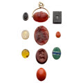 Estate Jewelry:Unmounted Gemstones, Stone, Glass, Coral, Gold Intaglios and Fob. ... (Total: 10 Items)