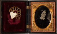 Mary Todd Lincoln: Ninth Plate Tintype Housed with Woven Lock of Her Hair