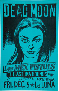 "Dead Moon La Luna Concert Poster (1997). Rolled, Near Mint. Signed Concert Poster (11"" x 17"") Designed by Mike..."