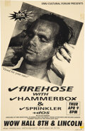"""Music Memorabilia:Posters, Firehose WOW Hall Concert Poster Signed by Designer (1992).Rolled, Very Good. (11"""" X 17"""").. ..."""