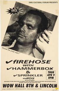 """Firehose WOW Hall Concert Poster Signed by Designer (1992).Rolled, Very Good. (11"""" X 17"""")"""
