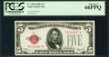 Small Size:Legal Tender Notes, Fr. 1526 $5 1928A Legal Tender Note. PCGS Gem New 66PPQ.. ...