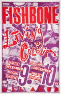 """Music Memorabilia:Posters, Fishbone/Living Colour Multi-Concert Poster Signed by Designer Mike King (1988). Rolled, Near Mint. (11"""" X 17"""").. ..."""