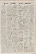 Miscellaneous:Newspaper, Daily Illinois State Journal (Springfield) September 2, 1857: Lincoln and Herndon Law Office advertising....