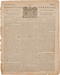 """Miscellaneous:Newspaper, Pennsylvania Chronicle (Philadelphia) dated June 20, 1768: """"A New and Accurate Map""""...."""