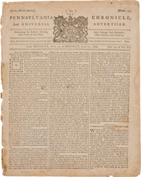 """Pennsylvania Chronicle (Philadelphia) dated June 20, 1768: """"A New and Accurate Map"""""""