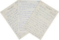 Football Collectibles:Others, 1958 Paul Hornung Handwritten Letters Lot of 3. ...