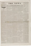 Miscellaneous:Newspaper, The St. Augustine News(East Florida Territory) April 20, 1839: Second Seminole War....