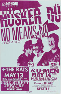 Hüsker Dü / Nomeansno Portland and Seattle Concert Poster (1986). Rolled, Near Mint. Signed Concert Poster (11...
