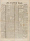 Miscellaneous:Newspaper, New York Times April 17, 1865: Lincoln Assassination....