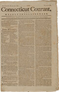 Miscellaneous:Newspaper, Connecticut Courant (Hartford) March 30, 1789. Detailed description of Federal Hall in NYC....