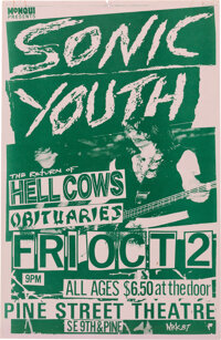Sonic Youth Pine Street Theatre Concert Poster Designed by Hell Cows Drummer Mike King (1987).Rolled, Very Good+. (11&qu...