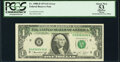 Partial Back to Face Offset Error Fr. 1908-H $1 1974 Federal Reserve Note. PCGS Apparent About New 53